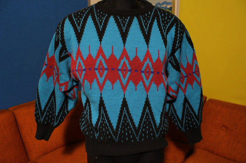Vintage 90's Crazy Print Aztec Sweater Loud Style Biggie Cosby Hip Hop