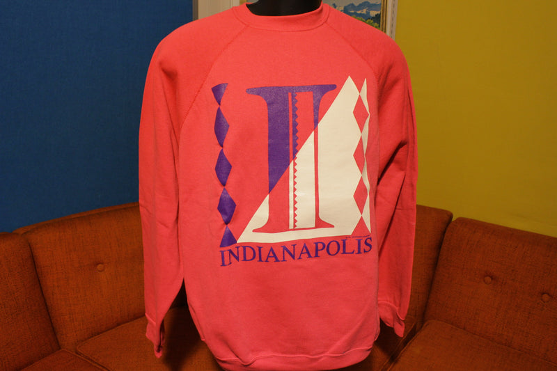 Pink Indianapolis 1991 Vintage Argyle Diamond Sweatshirt Men's XL NWOT Illuminati