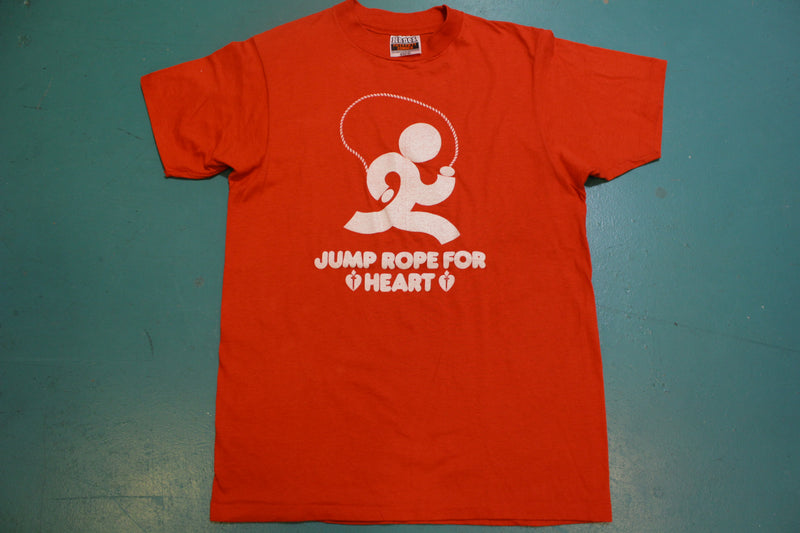 Jump Rope For Heart Hanes Fifty Fifty Vintage 70's Single Stitch USA T-Shirt