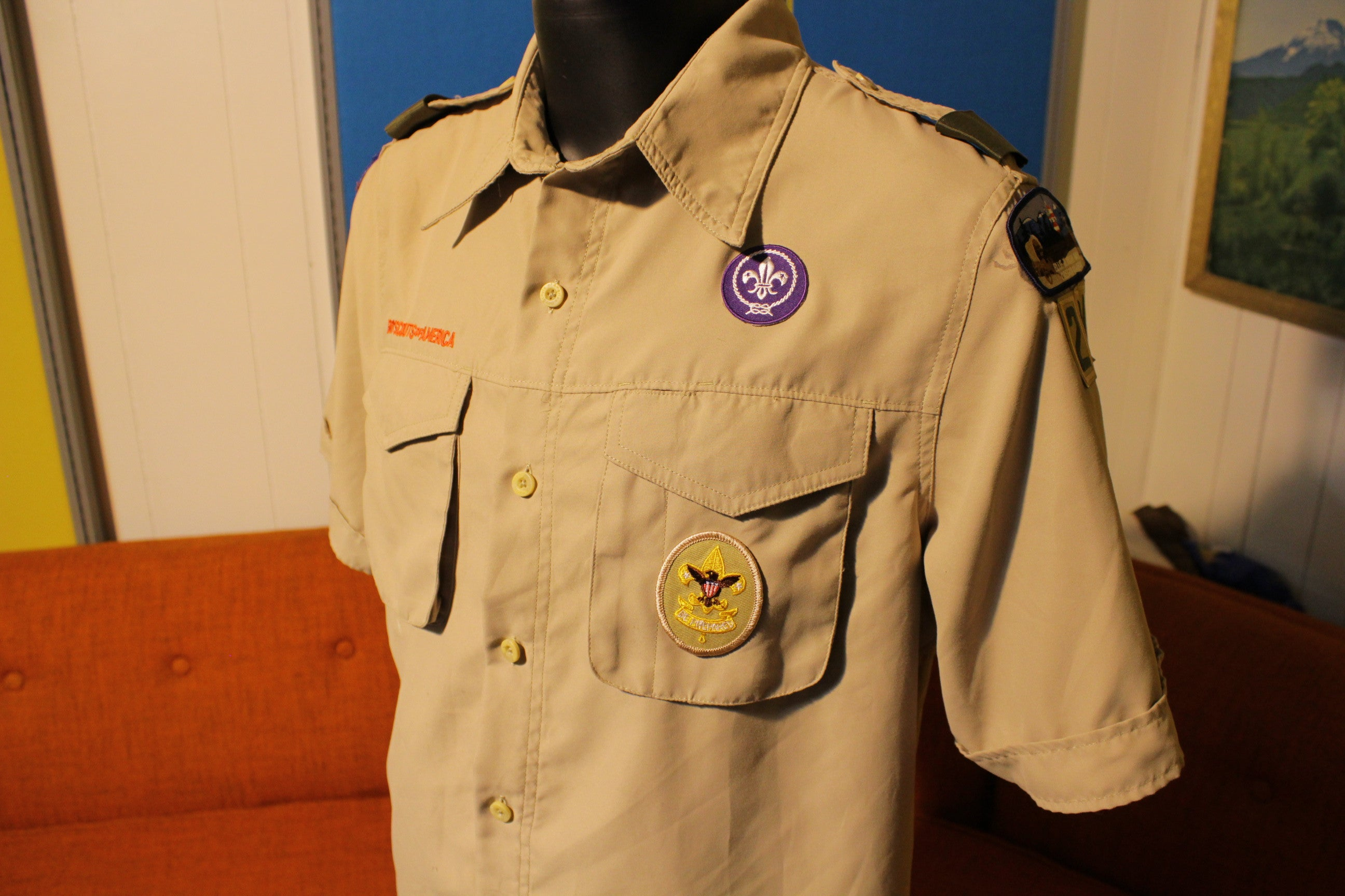 BOY SCOUTS Of America UNIFORM Shirt #214 VENTED Polyester Adult Mens Patches