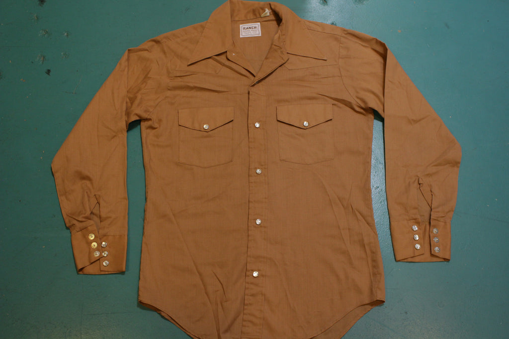 Ranch Perma Press Made IN USA Western Wear Pearl Snap Button Up 60's 70's Shirt