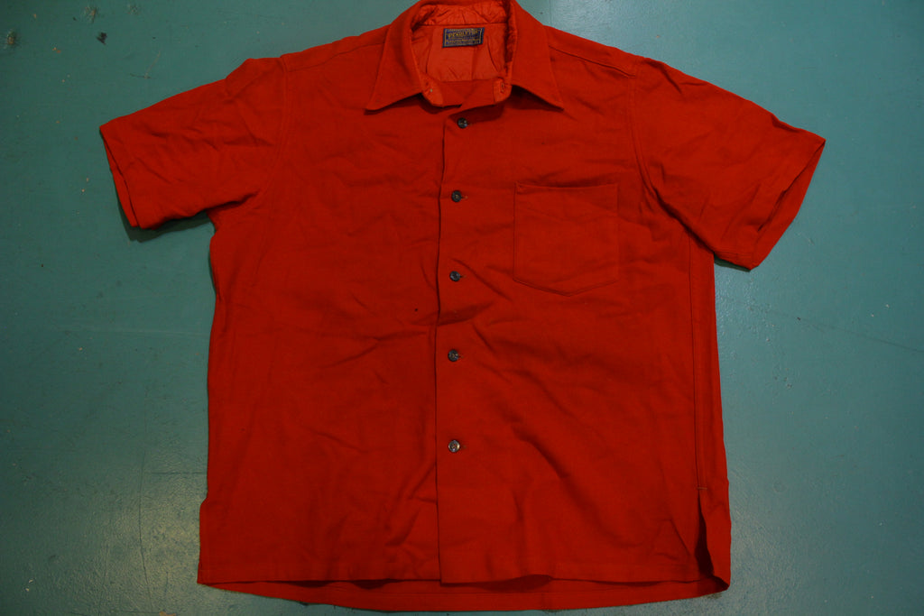 Pendleton Fire Engine Red 100% Virgin Wool Button Up 1960s Short Sleeve Trail Shirt