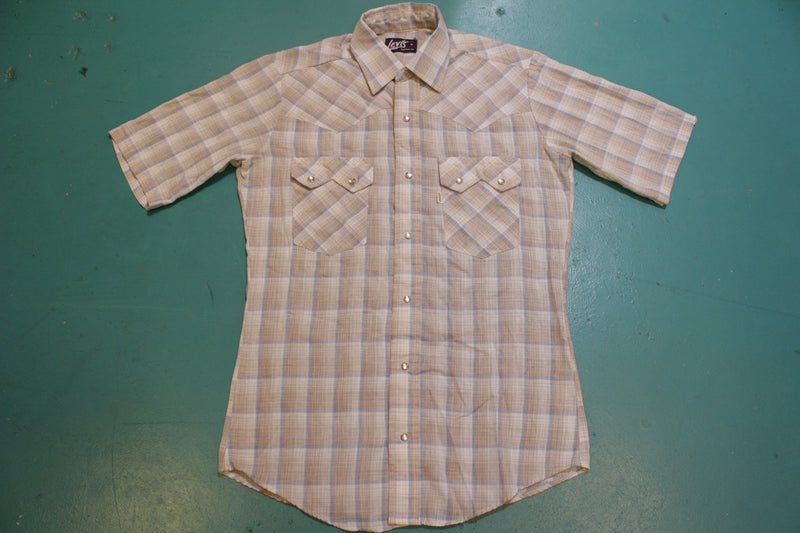 Levis Vintage 70's Tapered Fit Pearl Snap Button Up Western Disco Shirt