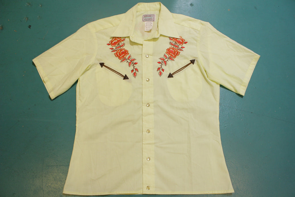 H Bar C Embroidered Western California Ranchwear Deadstock Pearl Snap Shirt