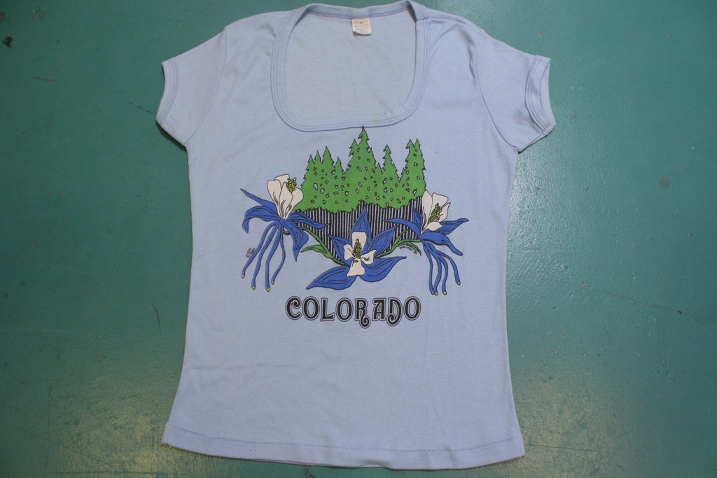 Colorado White Lily Flower 1980 McAllister Vintage Women's Single Stitch Shirt