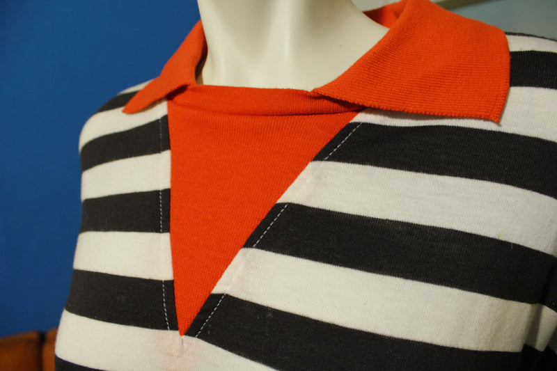 Golden Wings 80's Women's Striped Polo Ringer Shirt.  Made in USA XL