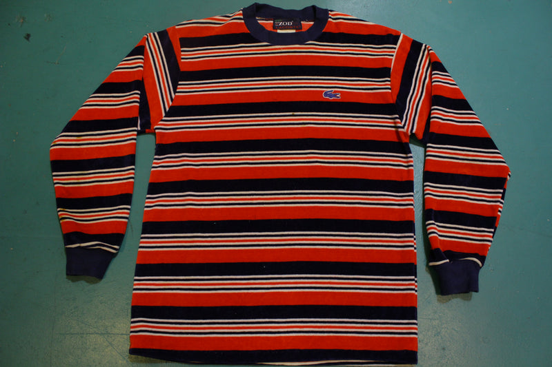 Izod Lacoste Blue Alligator Vintage 70s 80s Velour Designer Striped Sweater