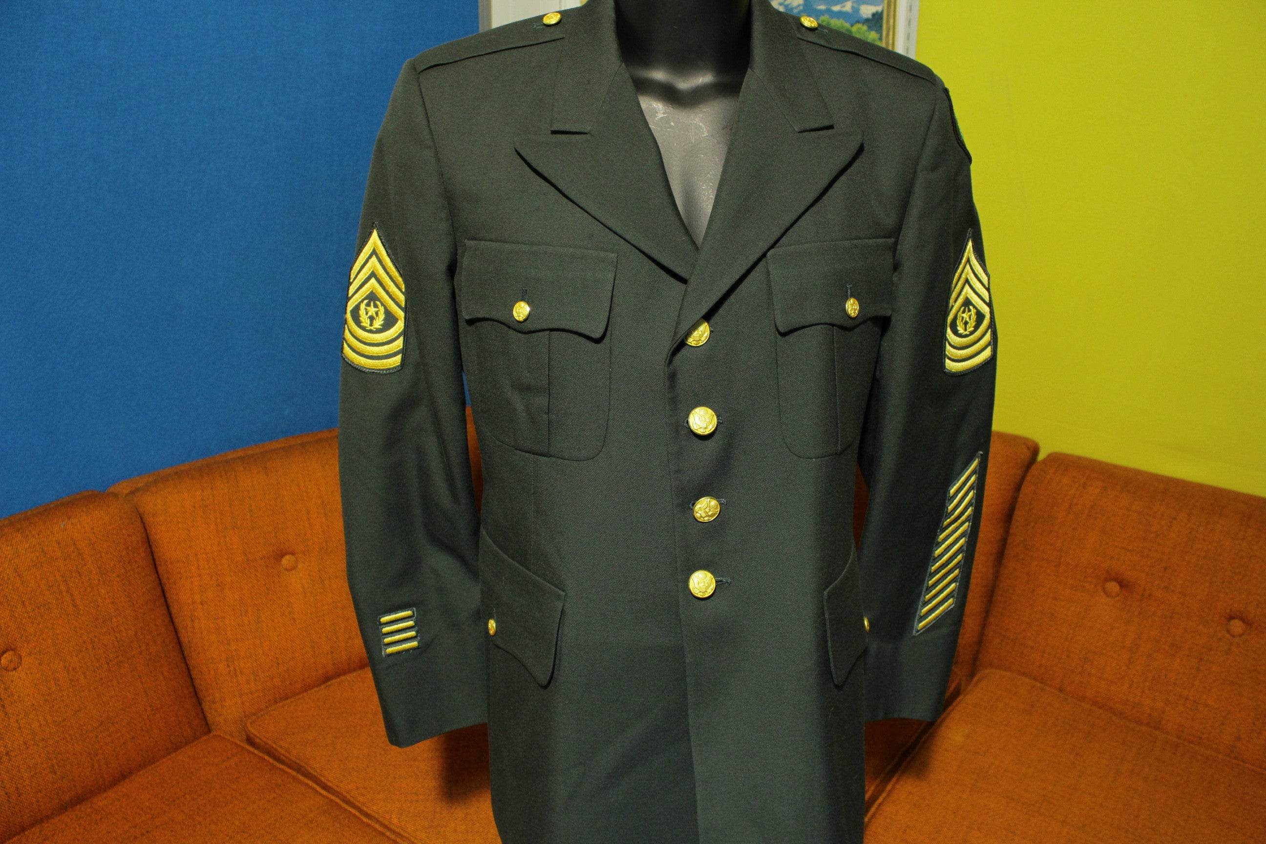 Army Blues Dress Uniform Green Suit Jacket w/ Patches Rank 91st Infantry Division