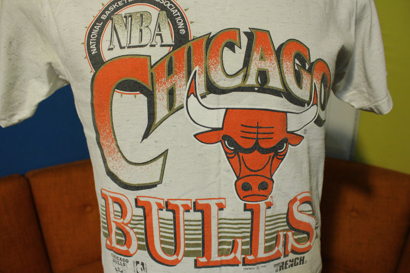 1992 Chicago Bulls Official NBA Trench Made In USA T-Shirt Tee Jordan Champ