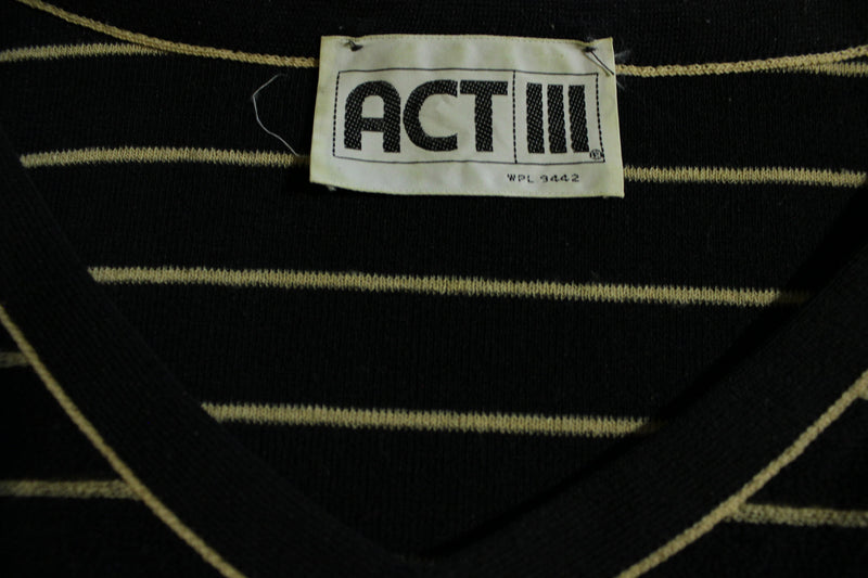 Act III Terry Cloth Vintage Striped 80's Women's Top Shirt V-Neck Medium