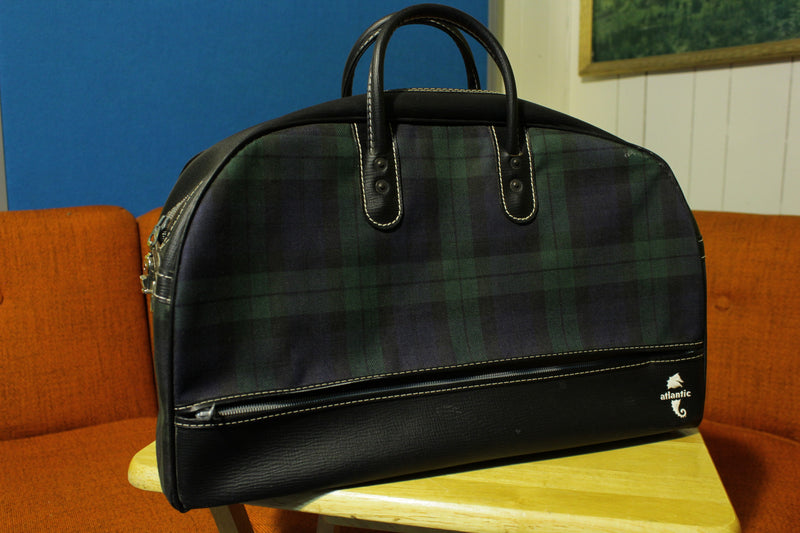 Atlantic Vintage Green Plaid Travel Carry On Doctor Style Day Bag w Zipper Entry