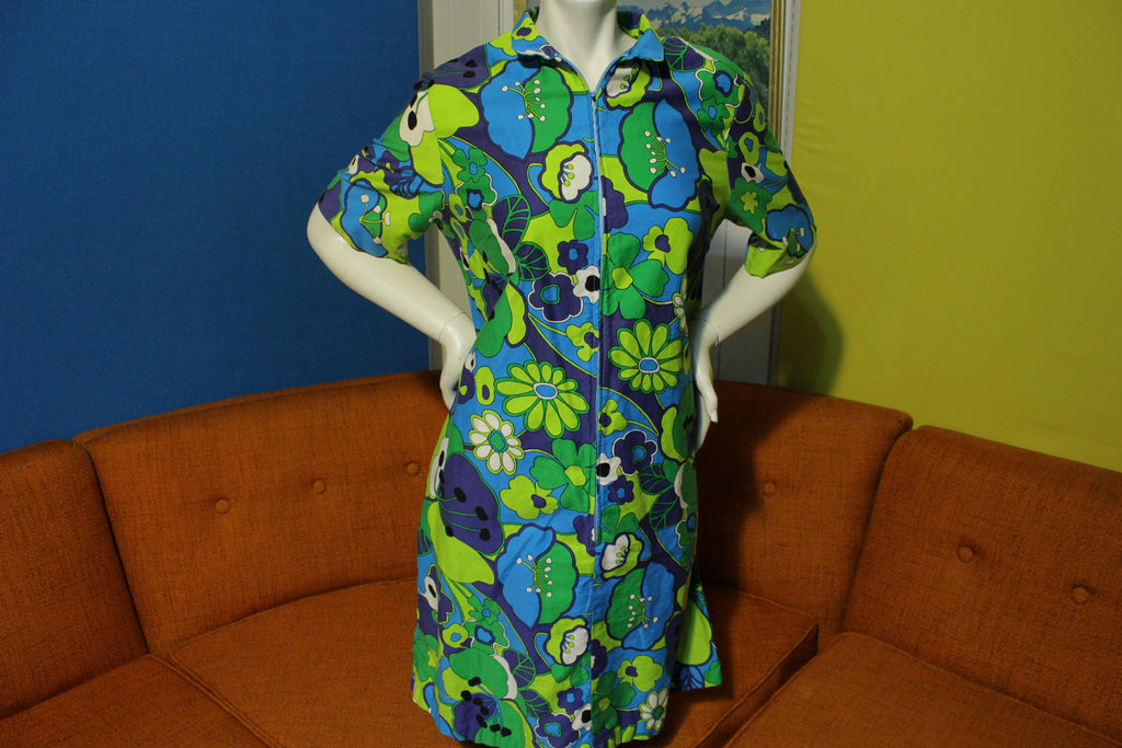 1960's 1970's Styloungers Flower Power Hippie Boho Dress. Mod Japan.
