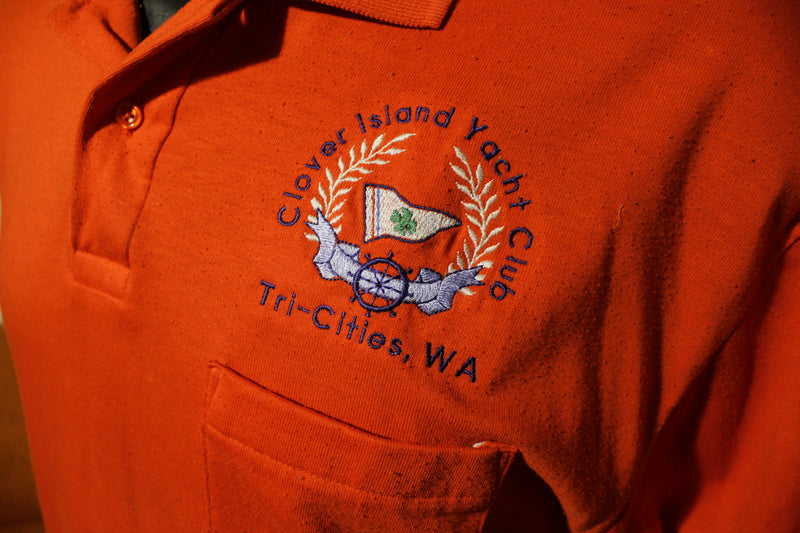 Clover Island Yacht Club Tri-Cities WA Vintage Made In USA Men's Polo Shirt.