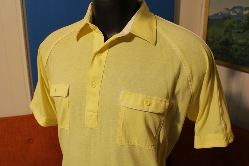 Hawk Tall Man Vintage 80's Yellow Striped Men's Polo Golf Shirt
