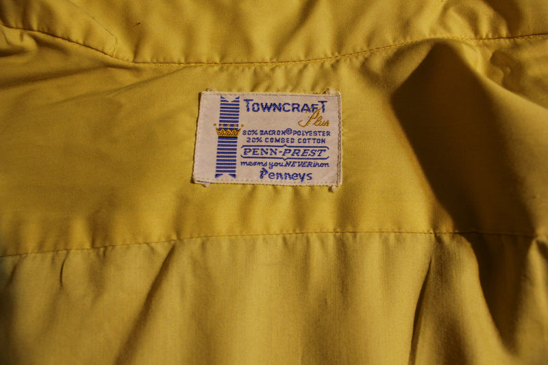 Towncraft Plus Penneys Penn-Prest Crown Vintage Long Sleeve Pocket Button Up
