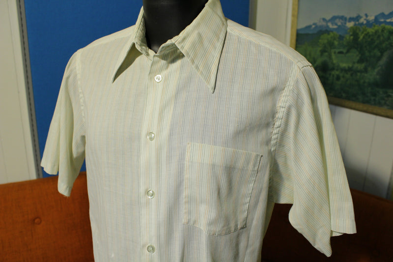 Kmart 70's Pinstriped Button Up Shirt.  Big Collar Short Sleeve.