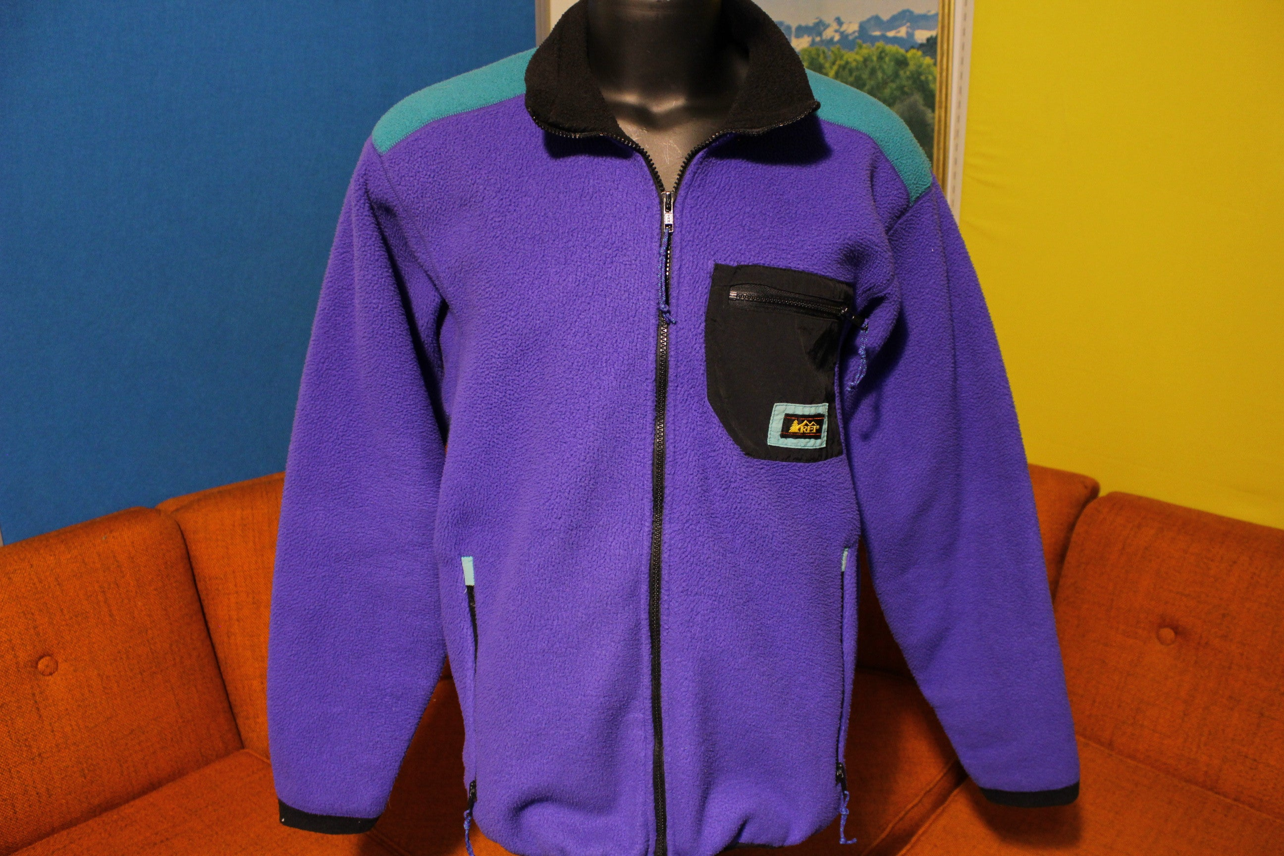 REI Vintage 90's Made In USA Fleece Jacket. Patagonia Style Patch Pocket Coat.