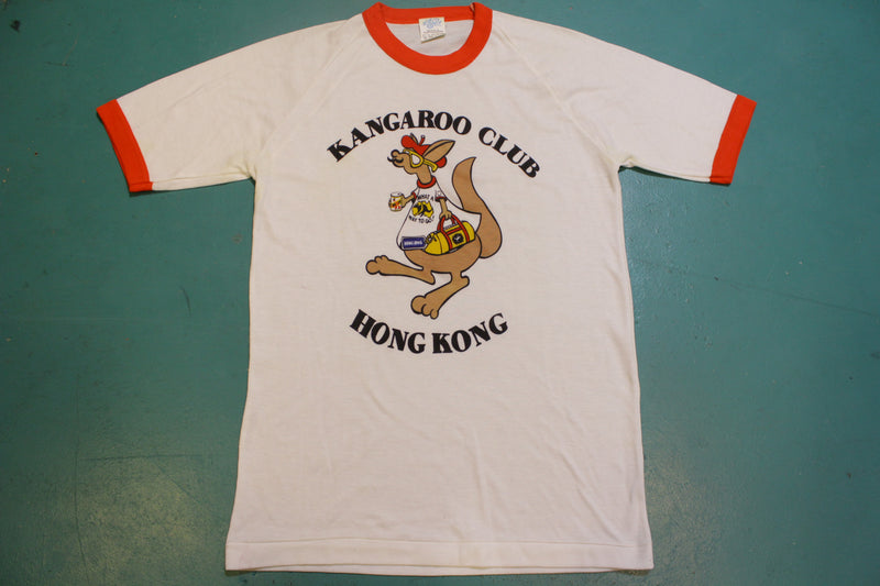 Kangaroo Club Hong Kong Vintage 80s Single Stitch Ringer Tourist T-Shirt