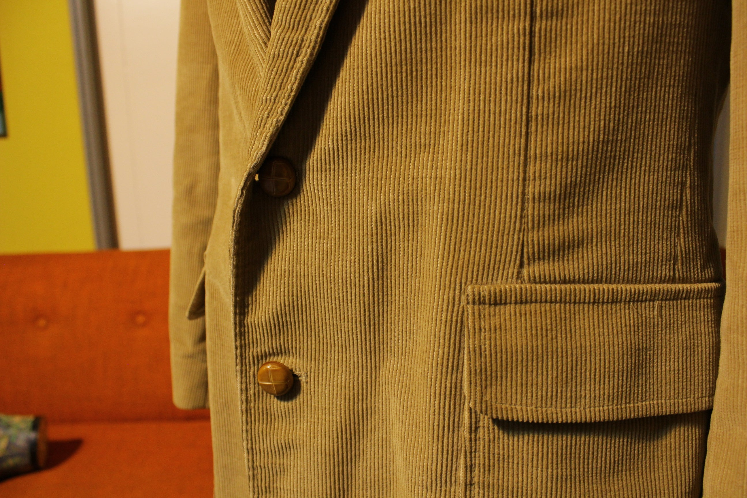 Haggar Vintage 70's Corduroy Blazer. Western Suit Jacket. Tan USA Made.