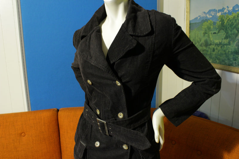 Guess Jeans Vintage Black Corduroy PeaCoat. Belt 80's 90's Women's USA Jacket.
