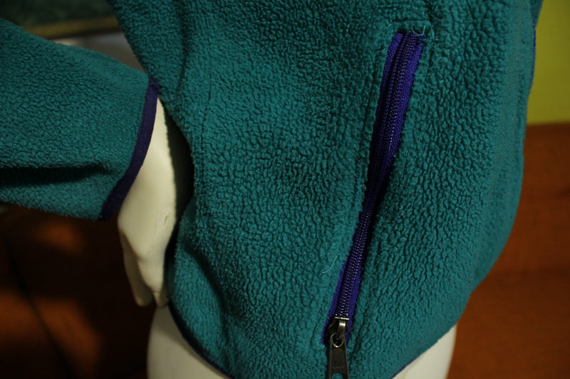 North Face Vintage 90's Made In USA Fleece Jacket. Green Color Block Coat.