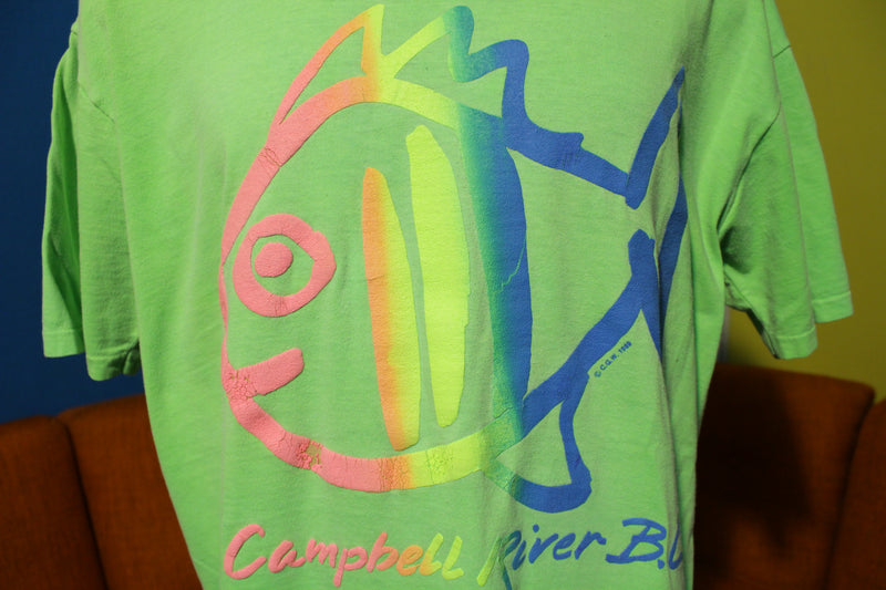 Waves Actionwear Campbell River BC 1989 Vintage Neon T-Shirt. XL TEE