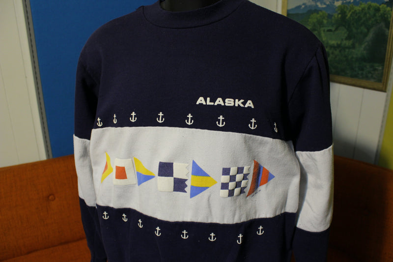 Alaska Anchor Nautical 1987 Vintage 80's Crewneck XL Graphic Sweatshirt.