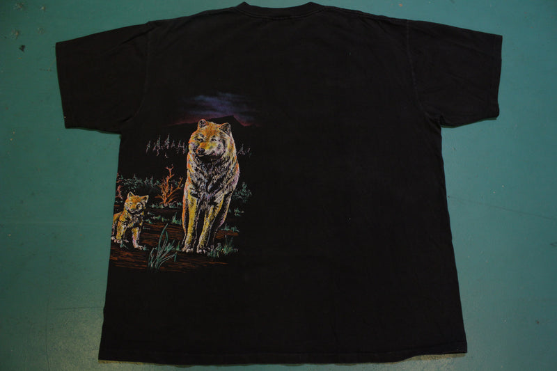 Wolf Giant Moon Forest 80's Single Stitch Vintage Wrap Around T-Shirt