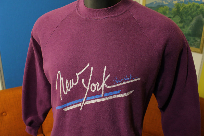 New York Vintage NYC 80's Sportswear 50/50 Purple Sweatshirt. Cracked Graphic