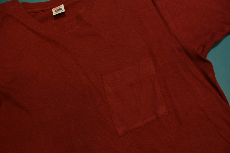 Fruit of The Loom Vintage 70s Blank Square Selvedge Pocket Maroon T-Shirt
