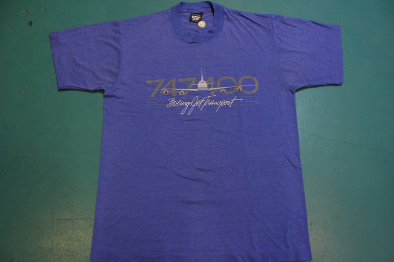 Boeing Jet Transport 747 400 Vintage Airplane 80's Screen Stars Single Stitch T-Shirt