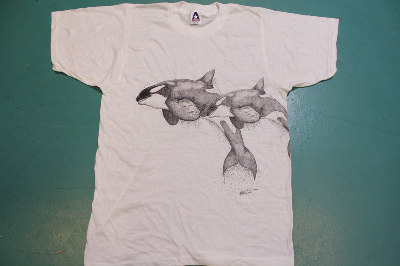 Shawn Garner Fluid Visions 1982 Killer Whale Vintage 80's Single Stitch Art Wrap T-Shirt