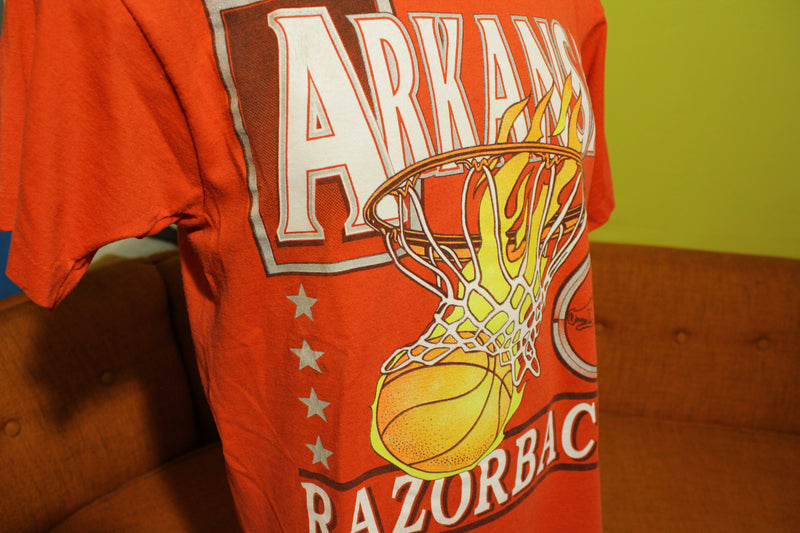Arkansas Razorbacks Vintage 90's 50/50 Fire Ball Basketball T-Shirt. Soft College Tee