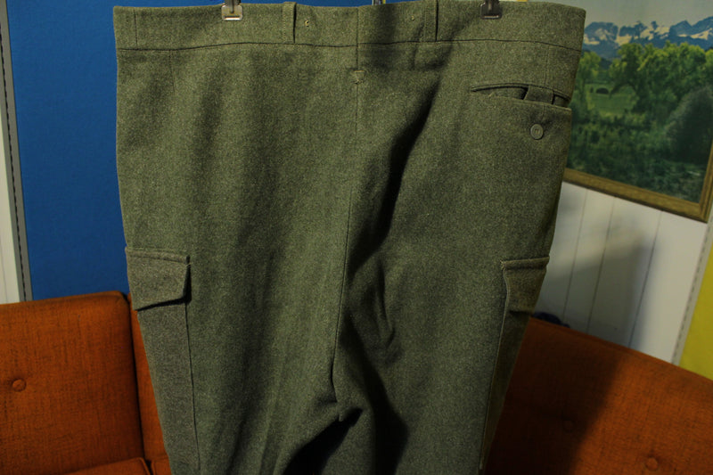 1955 Swedish Military Crown Pants Vintage Heavy Wool Cargo Soderbergs Upsala