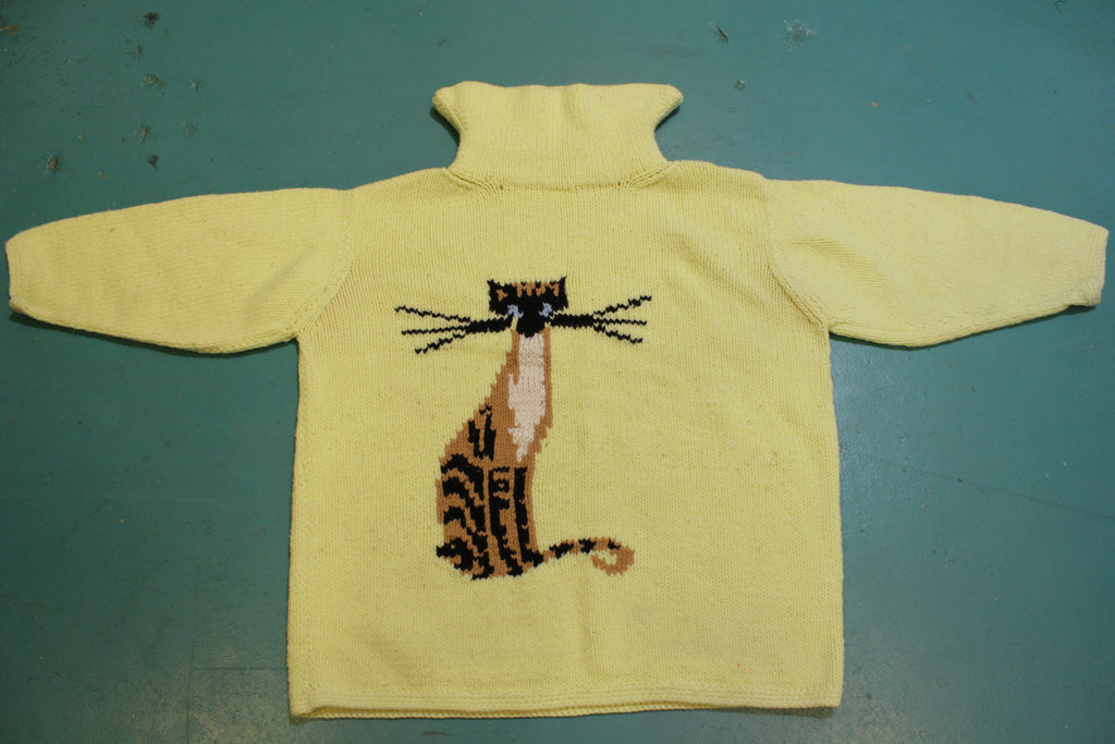 Big Whiskers Cat Handmade 60s Knit Sweater