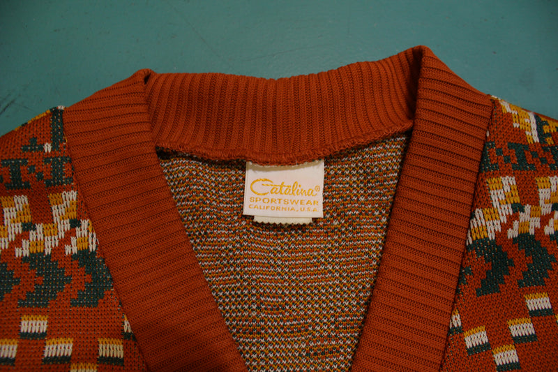Catalina Sportswear California Southwestern USA Design Cardigan Button Sweater 80's