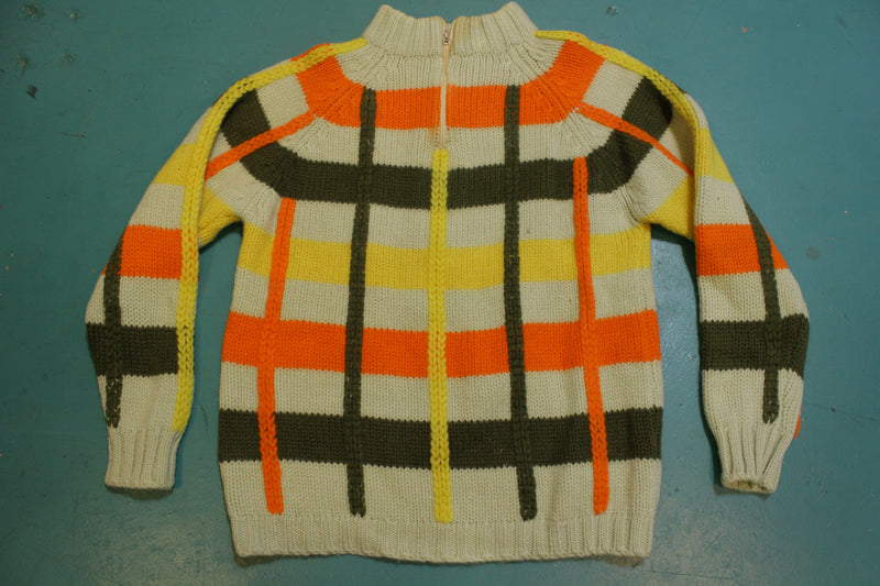 Tarni Wool Fully Fashioned Vintage 60's Quarter Zip Color Block Sweater