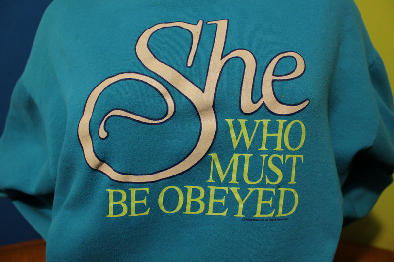 She Who Must Be Obeyed Long Sleeve Vintage Polo Sweatshirt. 80's Women's