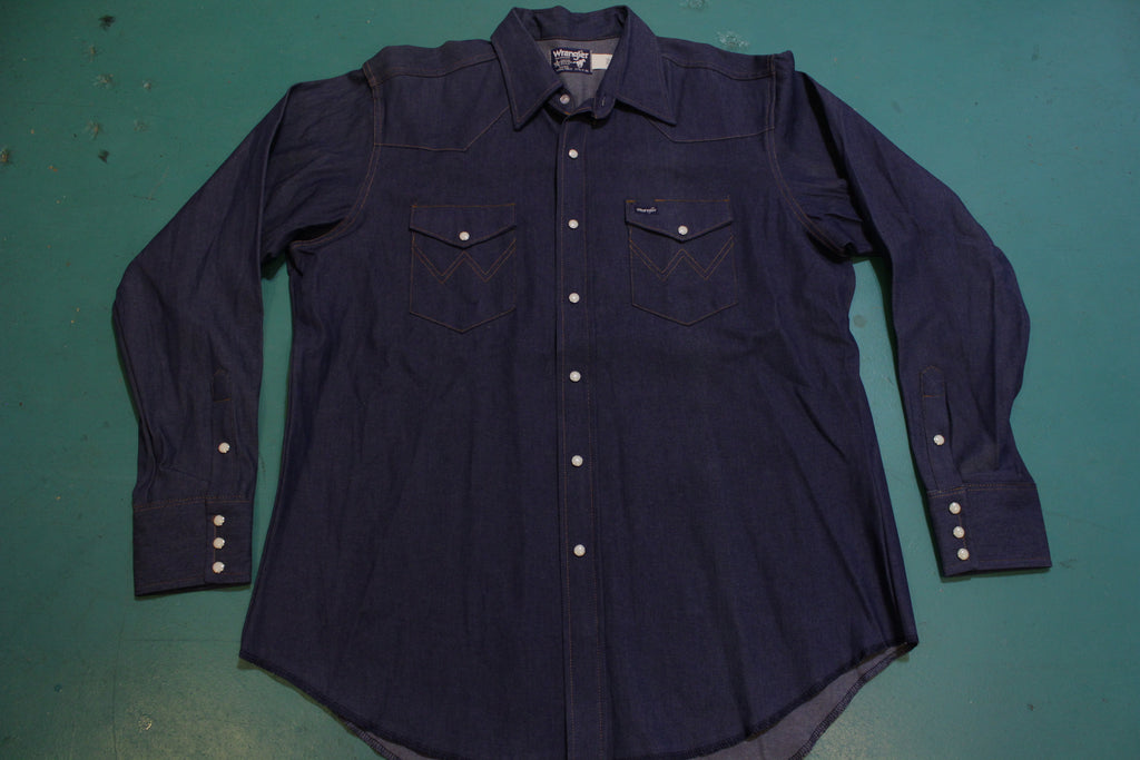 Wrangler Denim NWOT 80's Vintage Pearl Snap Western Wear Work Shirt