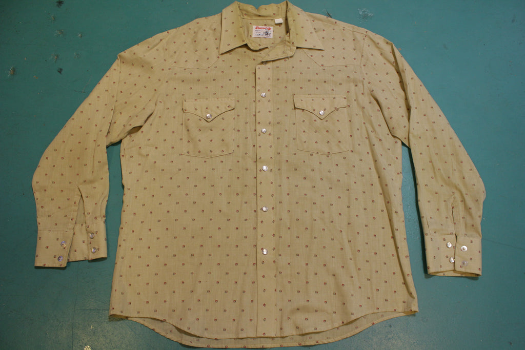 Round Up Made In USA 70's Vintage Pearl Snap Western Wear Shirt