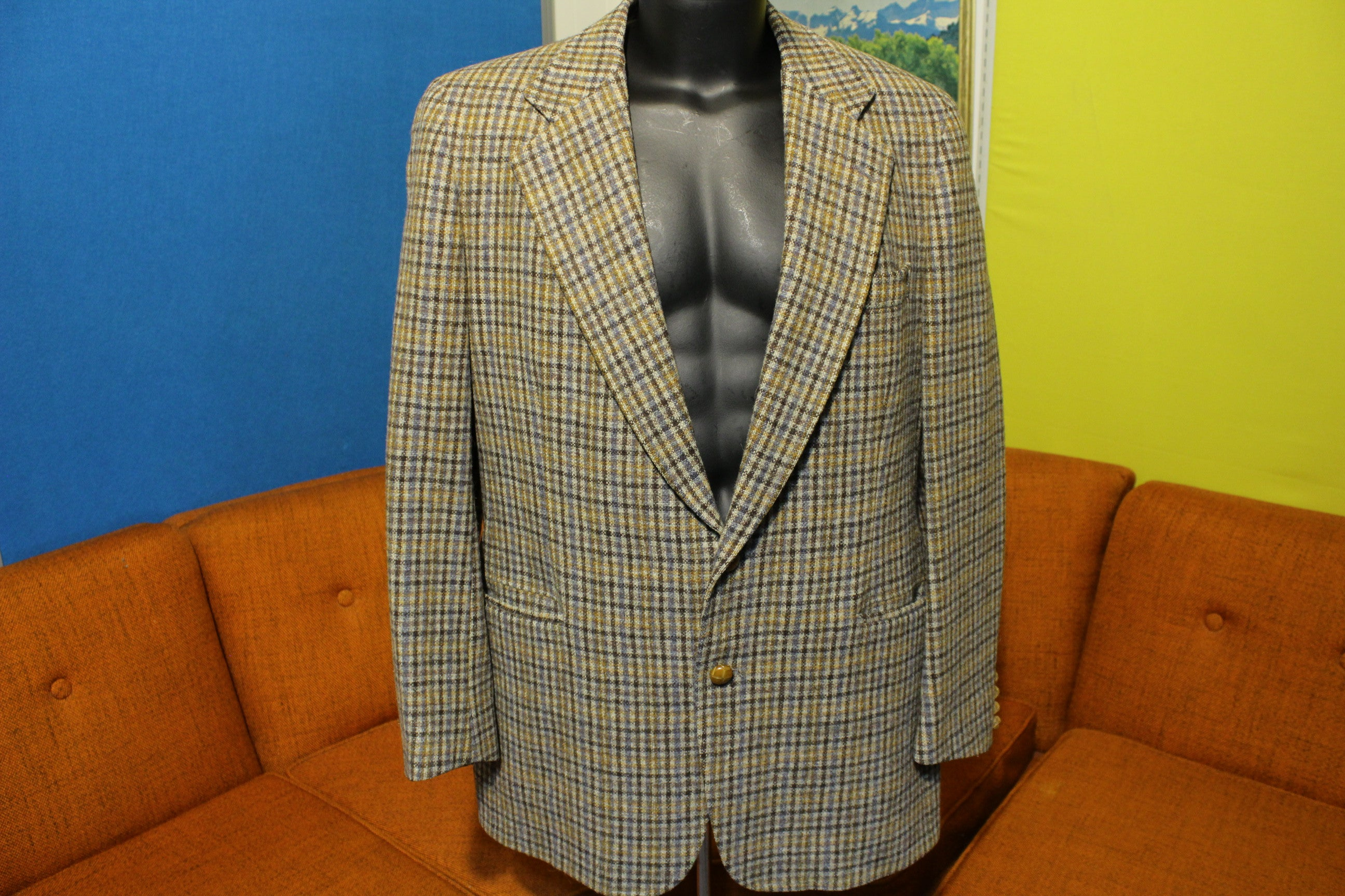 Chaps by Ralph Lauren Vintage 70's Tweed Plaid Wool Blazer. Rare Suit Jacket.
