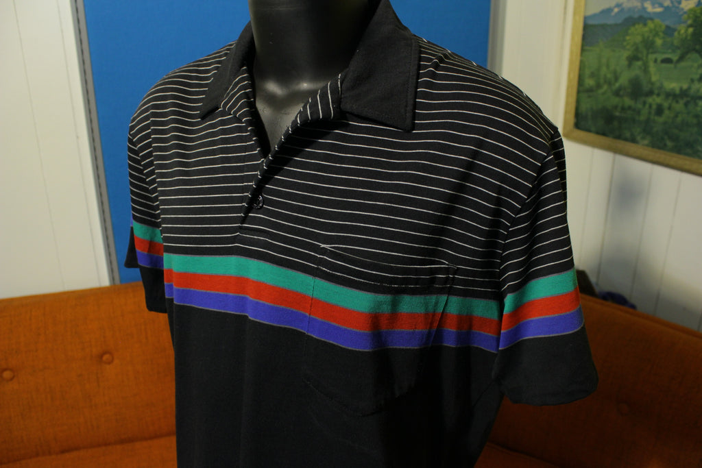 Hobie Vintage 80's Surf Striped Black Polo Shirt. Short Sleeve