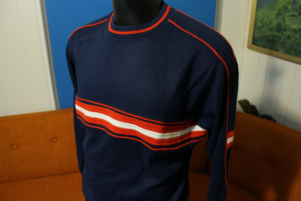 Cedar Bend Vintage Made in USA 80's Ski Sweater Sweatshirt. Striped Medium
