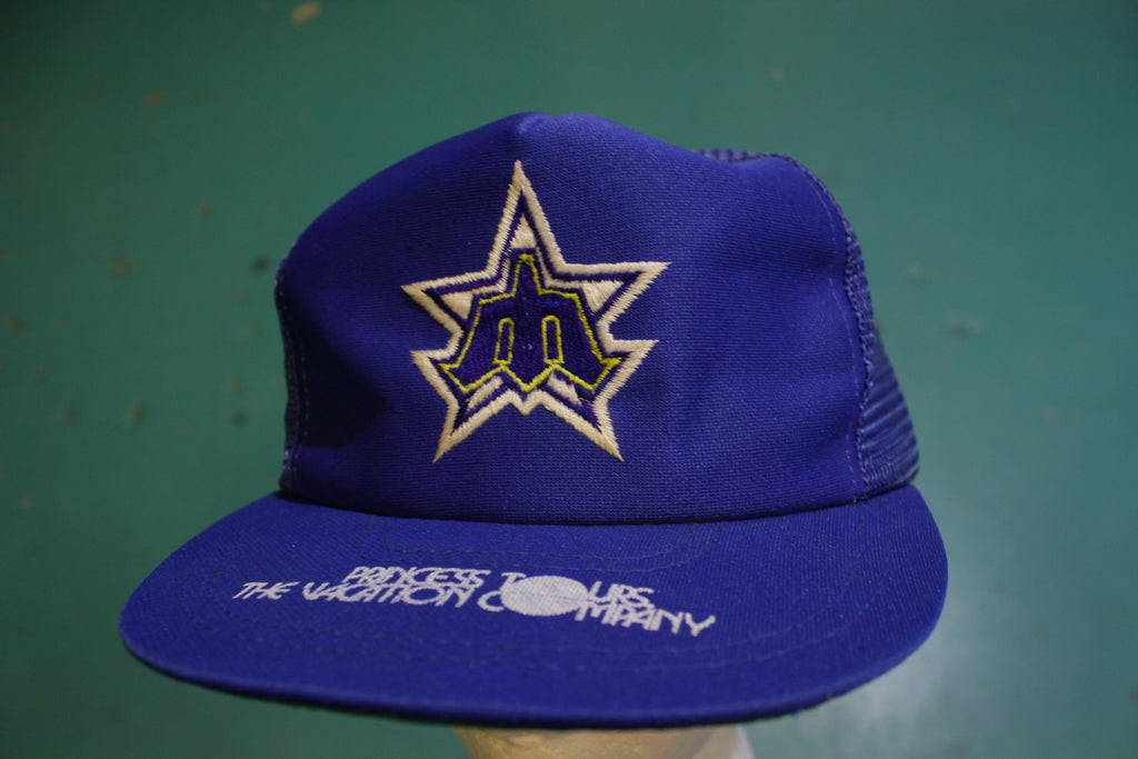 Seattle Mariners Princess Tours 80's Vintage Snapback Trucker Cap Starter Hat