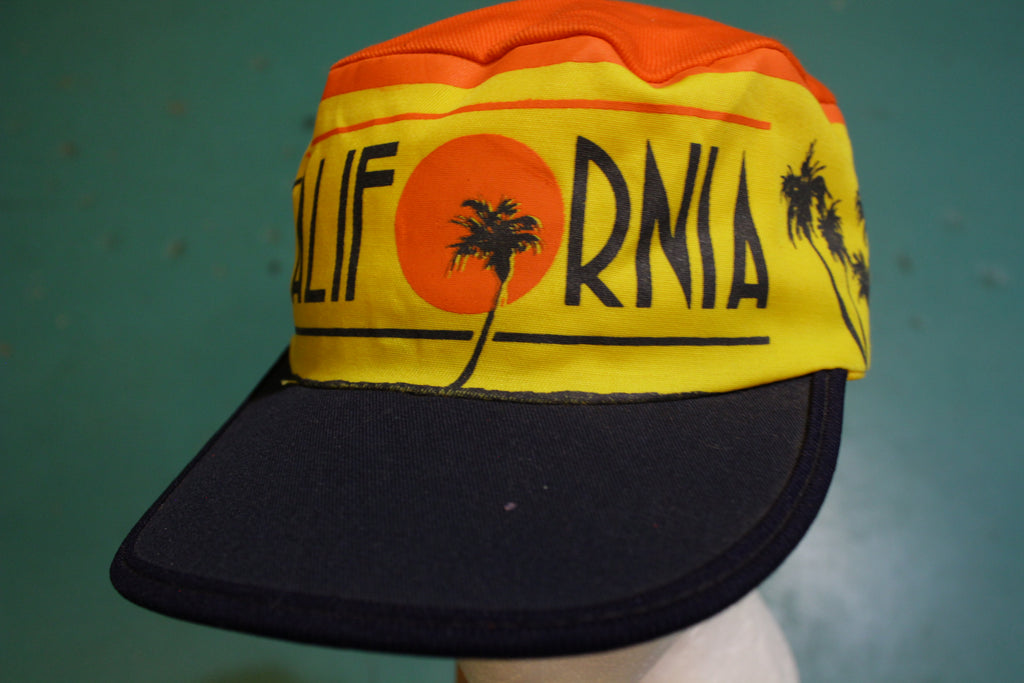 California Venice Beach Palm Trees 80's Vintage Painters Hat