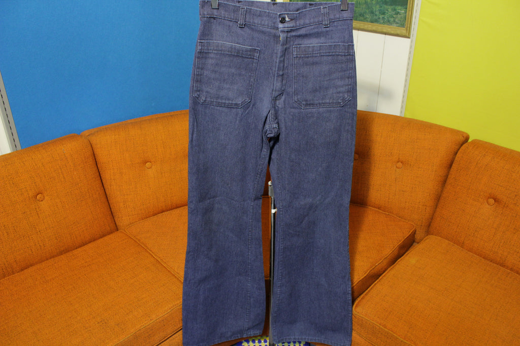 Navdungaree Denim Jeans Pants US Navy Vintage High Waist Bell Bottoms 28x32