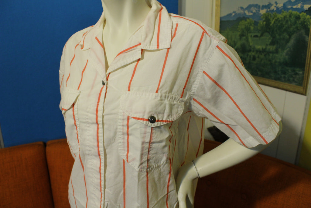 Lindsey Blake White Striped Big Pocket 80's Women's Button Up Shirt Vintage Large