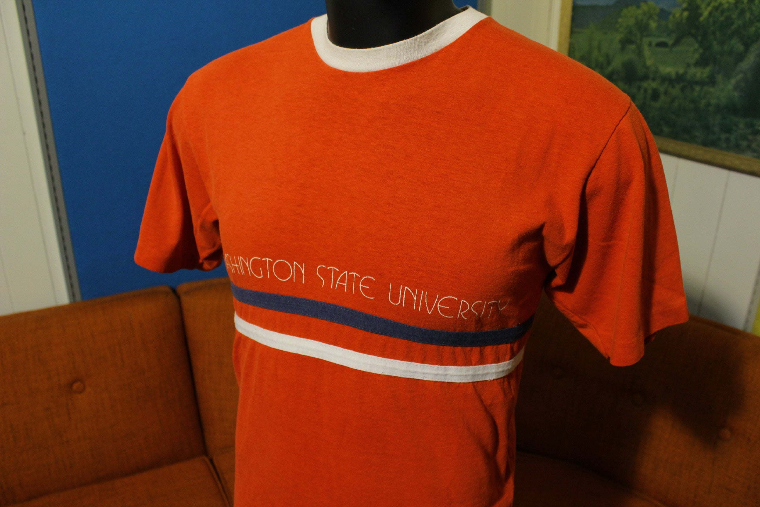 WSU Blue Bar Champion T-Shirt. Vintage 70's Washington State University Shirt.