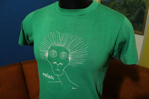 Relax Green Crazy Eyes Wired Hair 70's Vintage T-Shirt Soft Thin 50/50 Hanes Combed