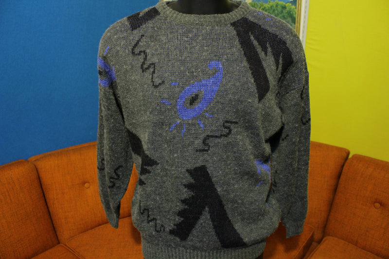 Abstract Cosby Sperm Vintage 80's Sweater Geometric Wool Blend Ugly Hip Hop